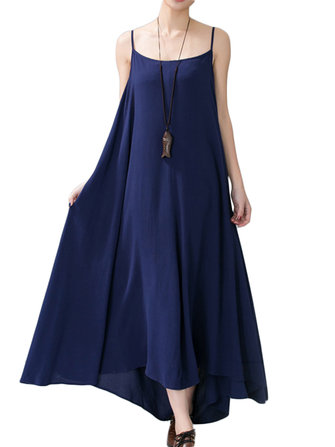 Casual Strap Sleeveless Linen Women Maxi Sundress