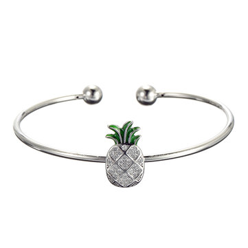 JASSY® 925 Sterling Silver Womens Bangle Bracelet Trendy Pineapple Charm Adjustable Bracelets