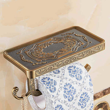 WANFAN WF1018 Bathroom Shelves Antique Carving Toilet Roll Paper Rack with Phone Shelf Wall Mounted Bathroom Paper Holder Hook Useful