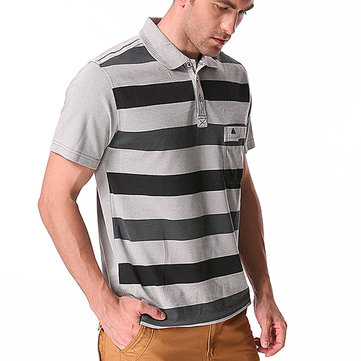 Men's Striped Printed Soft Cotton T-shirts Casual Turn-down Collar Golf Shirt