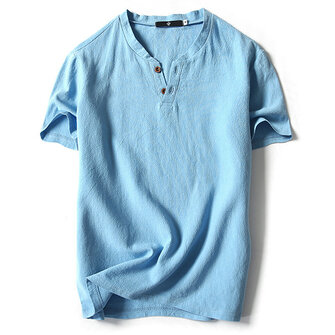 Summer Mens Fashion V-neck Short Sleeved T-shirts Casual Breathable Loose Pure Color Flax Blouse Top
