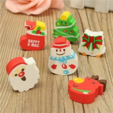 Cartoon Cute Kid Student School Children Stationery Christmas Xmas Mini Eraser