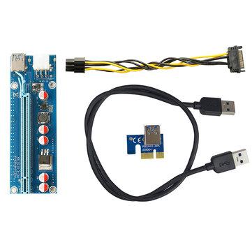 Segotep 0.6m USB 3.0 PCI-E Express 1x to16x Extender Riser Board 5 Capacitances Card Adapter Mining