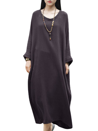 Casual Brief Solid Color Long Sleeve Cotton Baggy Dress For Women