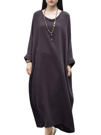 여자를위한 캐주얼 간략한 단색 긴 소매 코튼 헐렁한 복장