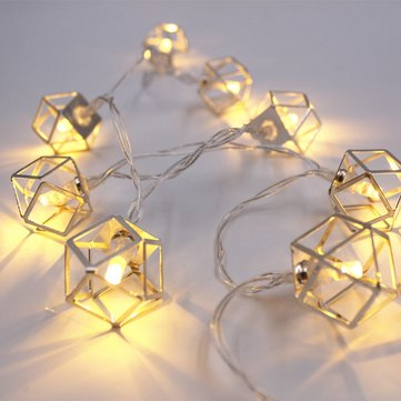 1.8M 3M Battery Operated LED Iron Polygon String Light Bedroom Home Christmas Decor Garland Lamp
