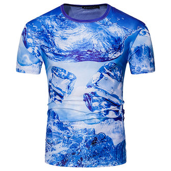 Fashion 3D Ice Block Printed T-shirt Men's Beach Seawater Pattern Short Sleeve T-shirt