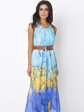 Bohemian Femmes Plume Imprimer Chiffon Loose Hem Beach Dresses