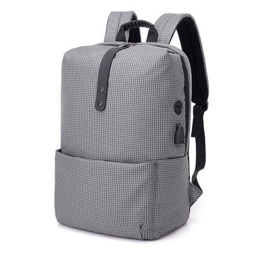 Men Waterproof Oxford USB Charging Computer Bag Backpack