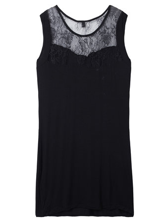 Sexy Black Lace Patchwork Hollow Out Sleeveless Bodycon Women Dress