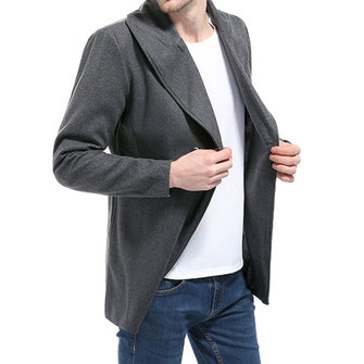Large Lapel Design Fashion Long Style Men's Trench Coat