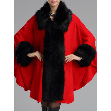 Women Winter Faux Fur Shawl Cloak