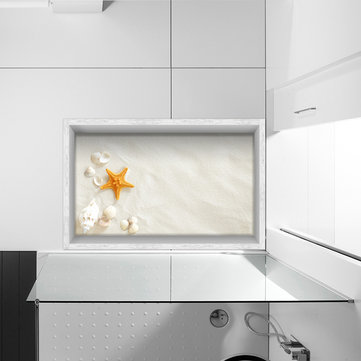 PAG 3D Anti Slip Starfish Conch Pattern Bathroom Floor Sticker Waterproof Washable Shower Room Decor