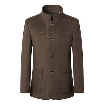 Stylish Business Winter Stand Collar Single Breasted Woolen Jackets Coats for Men