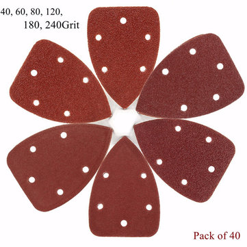 40pcs 5 Holes 40-240 Grit 140mm Triangle Sandpaper Velcro Mouse Sanding Sheets