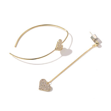 Dazzling Asymmetric Heart Earring Sterling Silver Gold