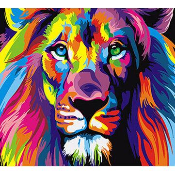 Frameless สัตว์สิงโตที่มีสีสันบทคัดย่อ Diy Digital Paintng โดยตัวเลข Modern Wall Art ภาพสำหรับงานศิลปะผนังบ้าน