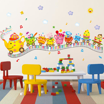 Kids Room Cute Anmials Wall Stickers Happy Anmials Musical Keyboard Room Decor