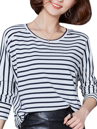 Casual Women O-Neck Long Sleeve Stripe Loose T-Shirt