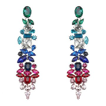 JASSY® Dangle Crystal Earring Emerald Sapphire Ruby Drop Earrings Geometric Zirconia Party Gift