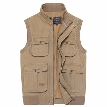 Mens Outdooors Casual Multi Pocket Multi-function Sleeveless Cotton Photography Fishing Vest
