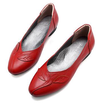 Mujer Zapatos Hoja Cómodo deslizamiento causal en las plantas