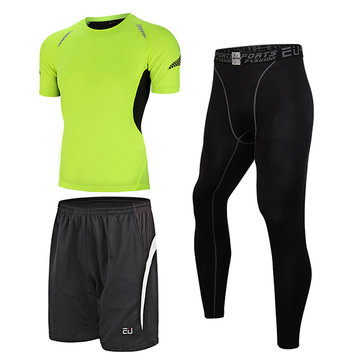 Men's 3 Pieces Fitness Elastic Tight Suit Quick Drying Training Running Sports Suit