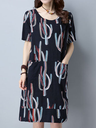 Women Casual Print Loose Pocket Dresses Short Sleeve O-Neck Short Dress