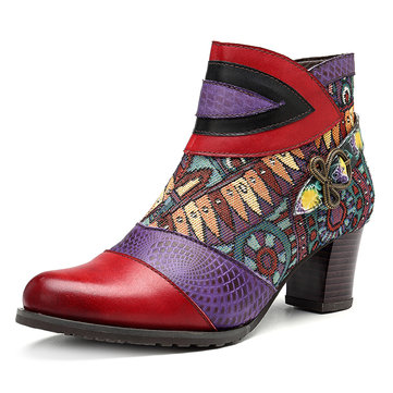 SOCOFY Splicing Pattern Genuine Leather Ankle Boots