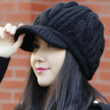 Women Winter Warm Thick Knitted Beret Caps Stretchable Outdoor Windproof Solid Sunshade Hats