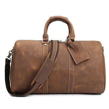 Men Vintage Genuine Leather Durable Travel Bag Duffle Bag Weekender Bag