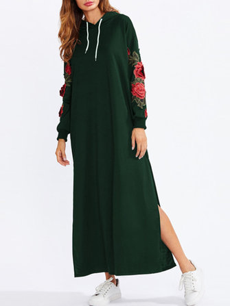 Casual Women Floral Embroidery Side Slit Hooded Long Sweatshirt Dress