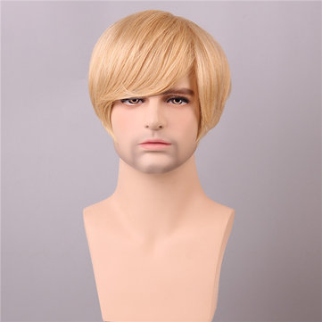 Golden Brown with Blonde Short Human Hair Wig Men Male Mono Top Virgin Remy Capless Side Bang