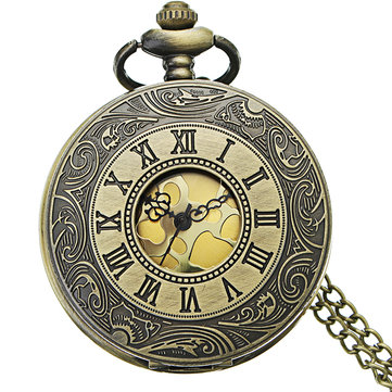 DEFFRUN Retro Steampunk Style Pocket Watch Roman Numerals Chain Watch