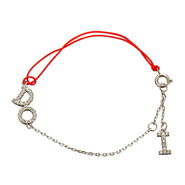 JASSY® Lucky Red Rope Sterling Silver Bracelet Sweet Dazzling Zirconia I Do Charm Bracelet for Women