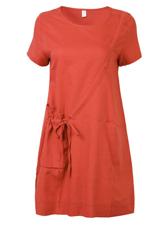 Cotton Women Vintage O-Neck Short Sleeve Loose Dress