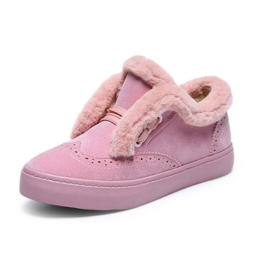 Keep Warm Slip On Cotton Shoes Casual Fur Lining Flats