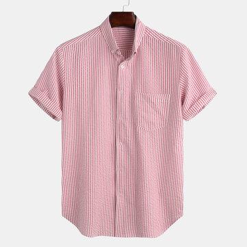 Original Hombres raya bolsillo práctico transpirable suelta camisas casuales