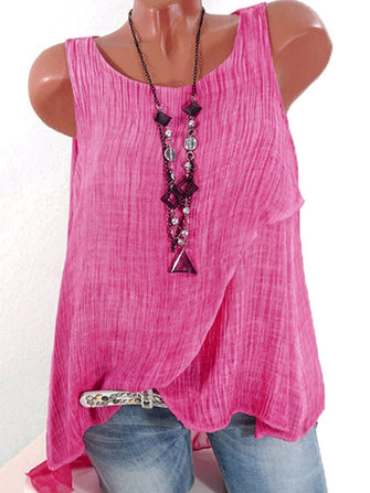 Women Sleeveless Chiffon Patchwork Tank Tops