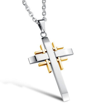 Trendy Silver Gold Collier Cross Homme Colliers en acier inoxydable