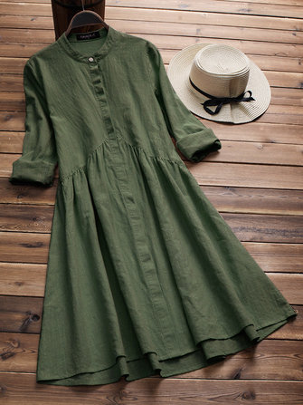 Vintage Women Cotton Stand Collar Pleated Long Sleeve Dress