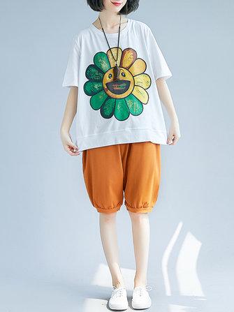 Women Cartoon Flower Short Sleeves Loose T-shirts