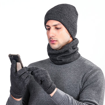 Winter Knit Hat Scarf Touch Screen Gloves Set Men Women Plus Velvet Windproof Earmuffs Cap Suit
