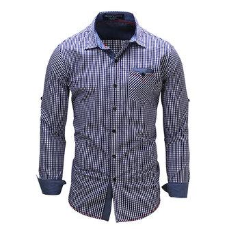 Случайный бизнес Slim Fit чистого хлопка небольшие пледы печати длинный рукав рубашки платье для мужчин