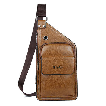 Men Leisure Pu Leather Chest Bag Durable Crossbody Bag Vintage Anti-tear Shouler Bag