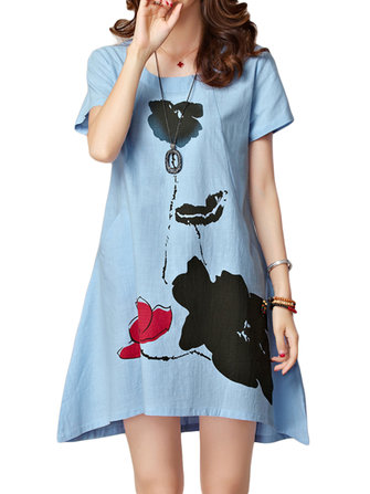 Elegant Women Lotus Flower Ink Printing Cotton Linen Mini Dress