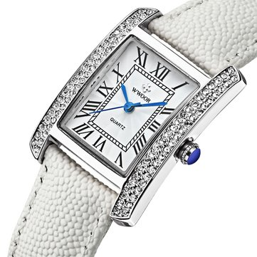 WWOOR 8806 Fashion Women Watch Casual Ladies Elegant Diamond Case Leather Band Dress Watch