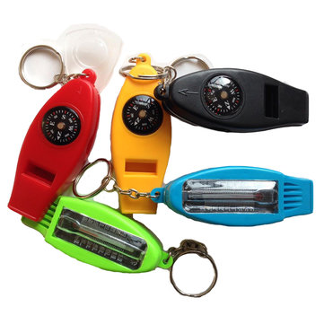 EDC 4 in 1 Multifunctional Keychain Compass Thermometer Whistle Magnifier Outdoor Keyring