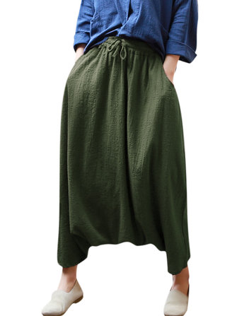 M-5XL Women Pure Color High Elastic Baggy Harem Pants