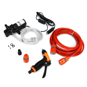 12V Portable 80W 160 PSI High Pressure Electric Washer Hose Wash Pump Kit